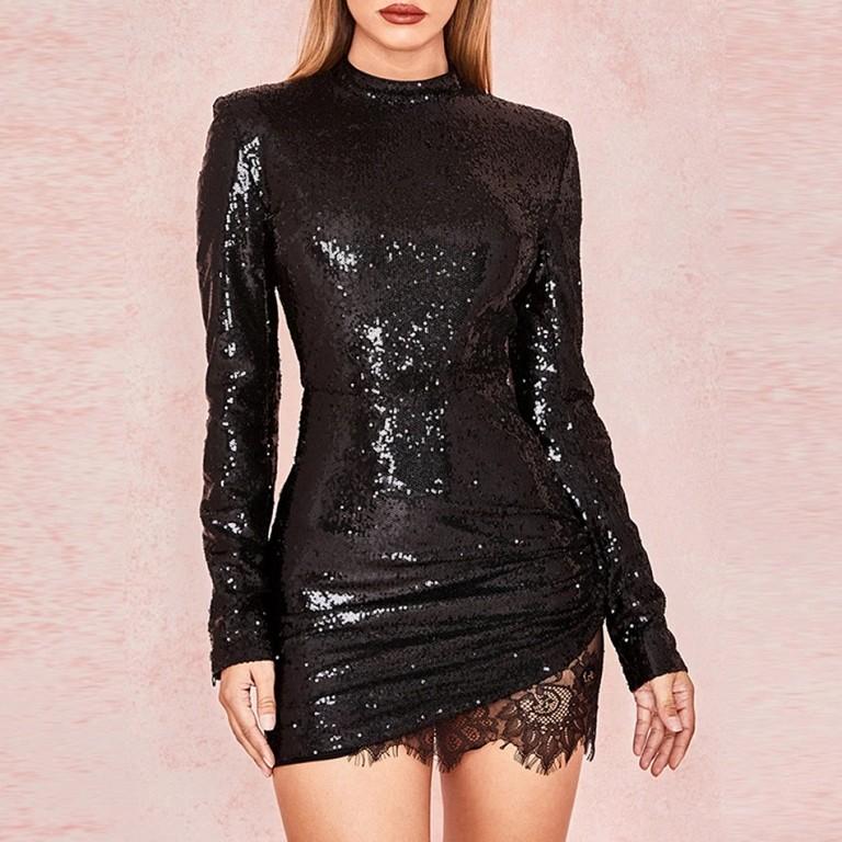 781b8bd889 Czarna cekinowa sukienka z ozdobną koronką - Billion Ladies