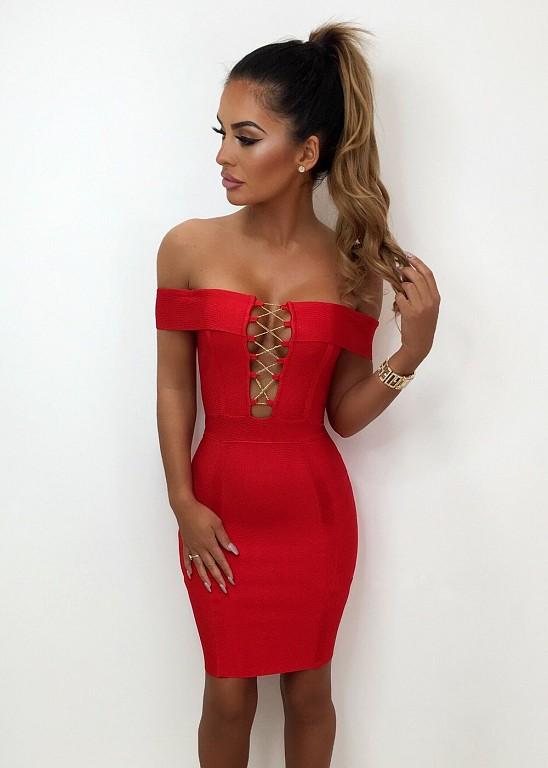 54e15473a3 Czerwona dopasowana bandażowa sukienka mini - Billion Ladies